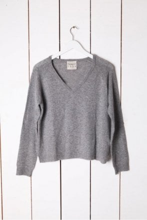 Lurex V Neck Knit in Grey