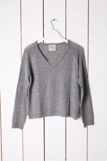 Lurex V Neck Knit in Grey