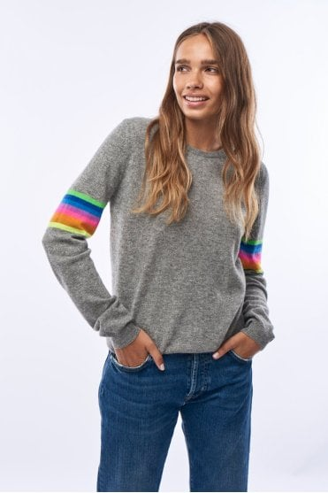 Mexican Stripe Arm Crew in Grey