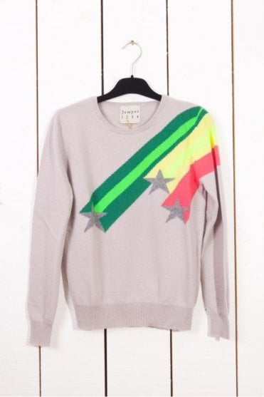 Shooting Star Crew Neck Cashmere Sweater in Snow/Neon