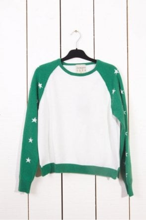 Star Baseball Cashmere Sweater in Cream/Green Stars