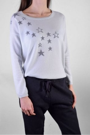 Star Intarsia Cashmere Sweater in Dew/Mid Grey