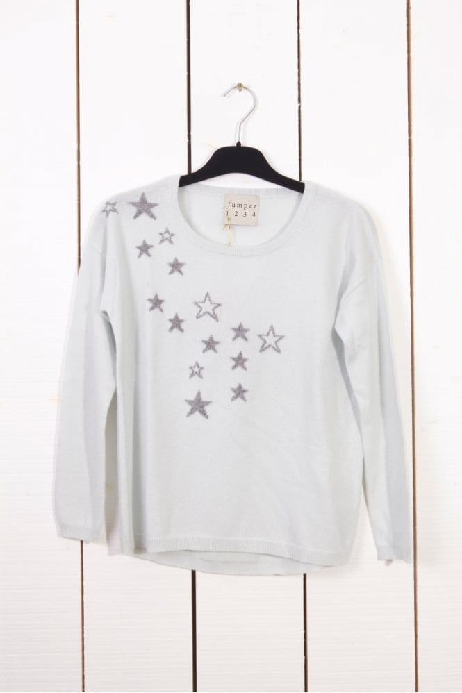 Jumper 1234 Star Intarsia Cashmere Sweater in Dew/Mid Grey