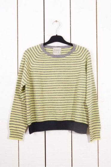 Tipped Fine Stripe Cashmere Sweater in Mid Grey/Lemon/Navy