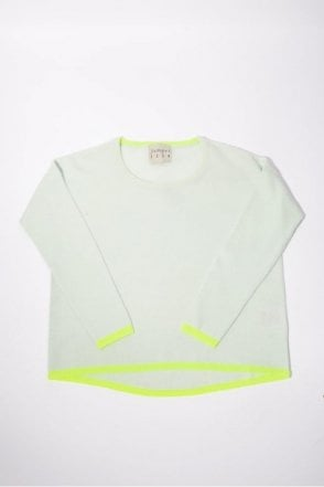 Tipped Yellow Cashmere Knit in Dew & Neon Yellow