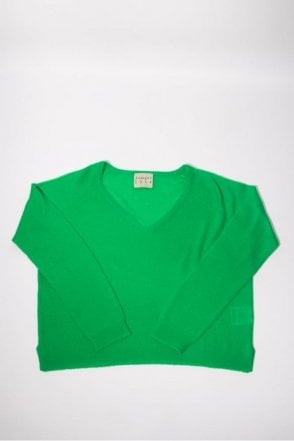 V Neck Boyfriend Cashmere Knit in Green