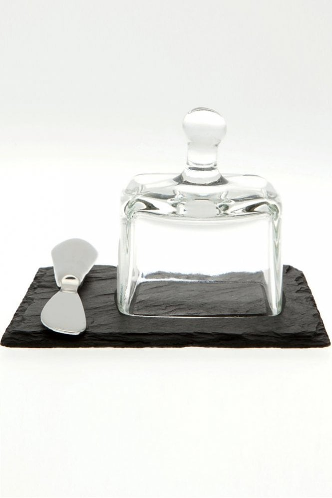 Just Slate Mini Butter Cloche with Knife on Slate Plate
