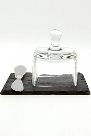 Mini Butter Cloche with Knife on Slate Plate