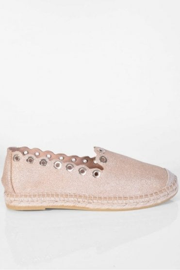 Dora Metallic Biscuit Leather Rivet Espadrille