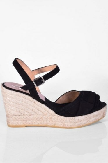Viena Black Wedge Sandal