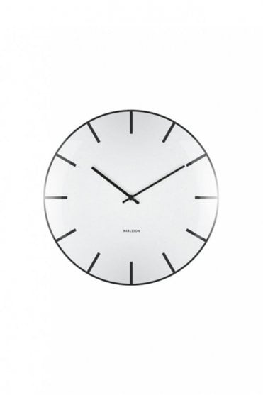 White Glass Dome Wall Clock