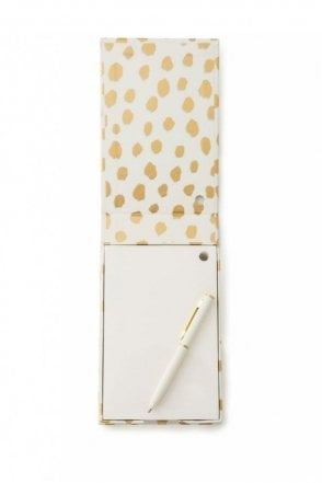 Notecube with Pen – Gold Flamingo Dot
