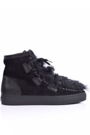 Basket Suede and Lambswool Boot in Black