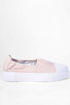 Big Leather Slip On in Nude/White