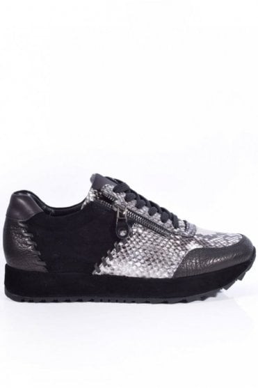 Cat Stitch Detail Snake Trainer in Black/Grey