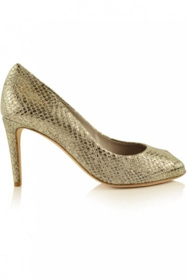 Gala Peep-toe Heel in Gold Jungle Snake