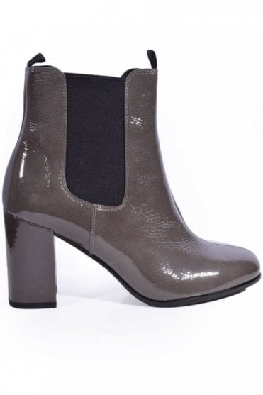 Karen Patent Block Heel Chelsea Boot in Grey