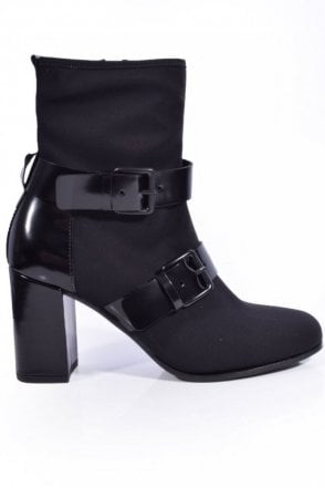 Karen Stretch Buckle Detail Boot in Black