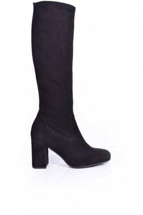 Karen Suede Stretch Heeled Boot in Black