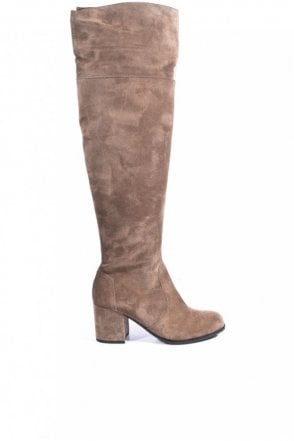 Kiko Block Heel Over the Knee Suede Boot in Tundra