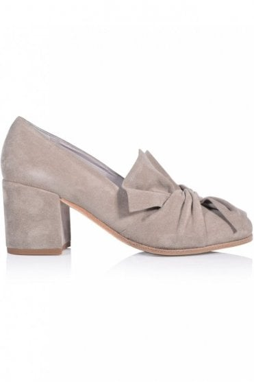 Kiko Bow Detail Block Heel in Natural