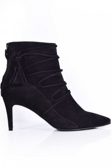 Liz Lace Up Suede Boot in Black