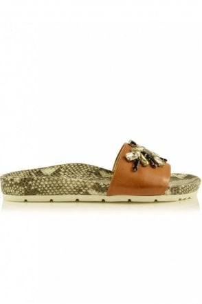 Love Snake Print Crystal Embellished Slider in Cognac