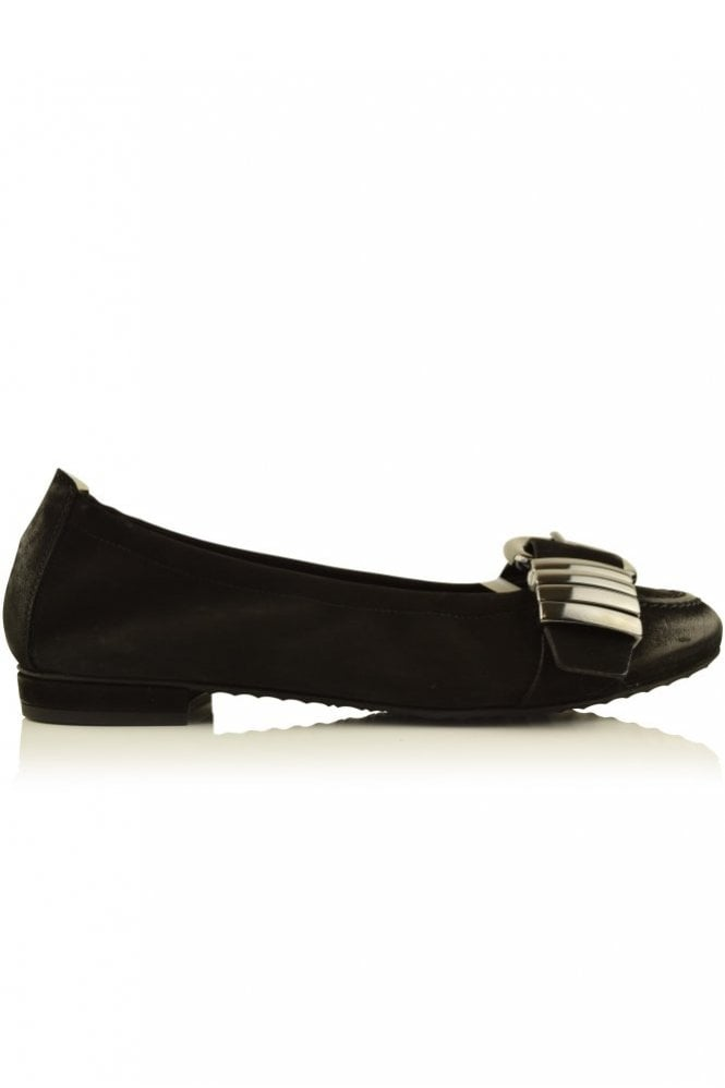Kennel und Schmenger Malu Suede Ballerina Pump with Buckle in Black/Gunmetal