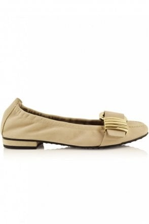 Malu Suede Buckle Pump in Sand/Gold