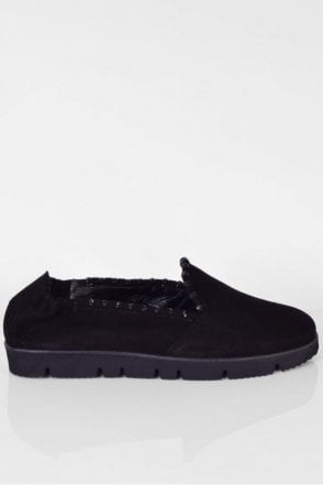 Malu X Suede Slip On in Black