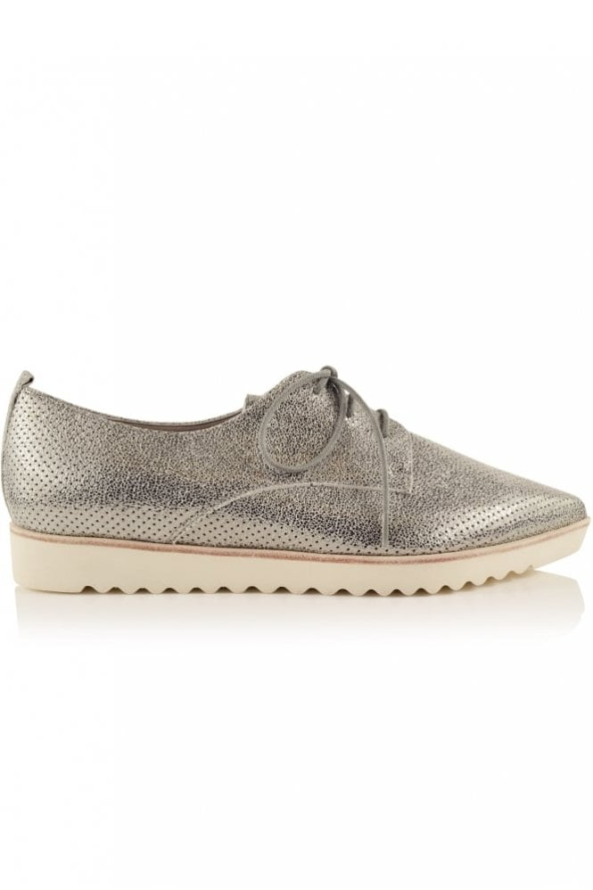 Kennel und Schmenger Ono Perforated Pointed Lace Up in Silver