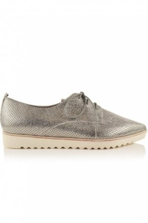 Ono Perforated Pointed Lace Up in Silver