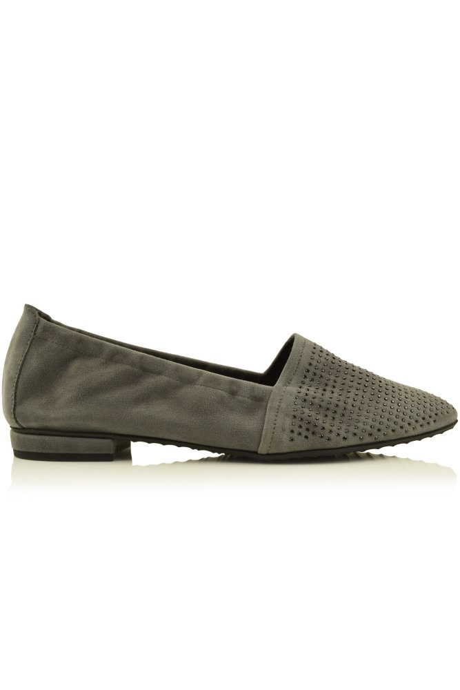 kennel und schmenger pia beaded suede pointed slipper in steel. Black Bedroom Furniture Sets. Home Design Ideas