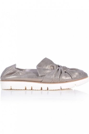 Pia X Bow Front Metallic Slip On in Pewter
