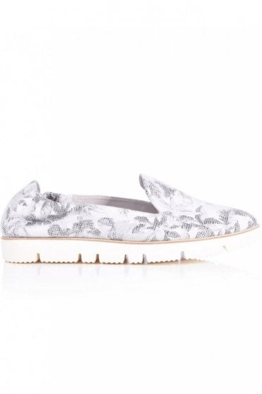 Pia X Floral Print Slip On in Light Grey
