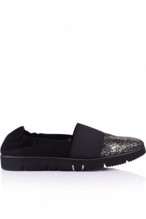 Pia X Snake Front Slip On in Black