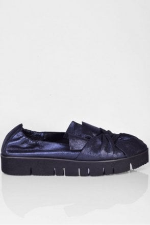 Pia XXL Bow Front Metallic Slip On in Dark Navy