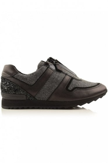 Runner Tweed and Glitter Trainer in Black