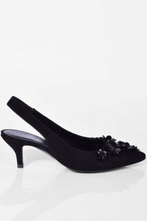 Selma Embellished Slingback in Black