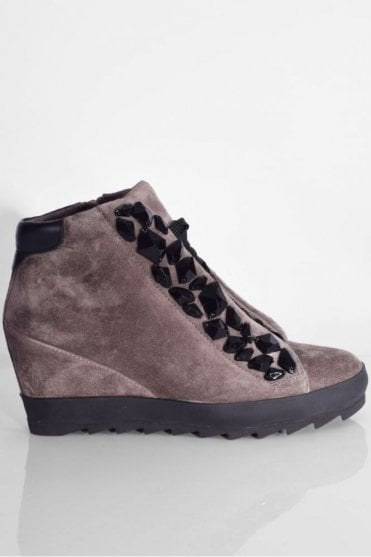Soho Suede Wedge Trainer in Mud/Black