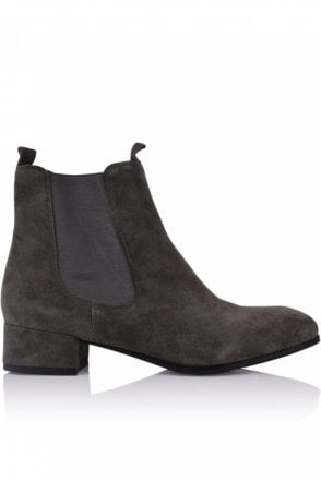 Tessa Block Heel Ankle Boot in Smoke