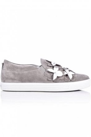 Town Flower Front Slip On in Stone/White