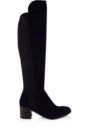 Tyra Over the Knee Suede Boot in Ocean