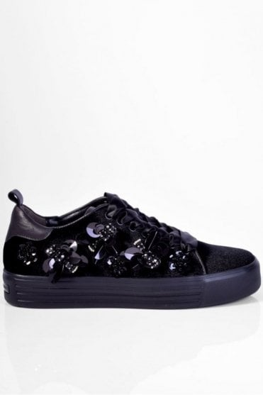 Up Velvet Floral Trainer in Black