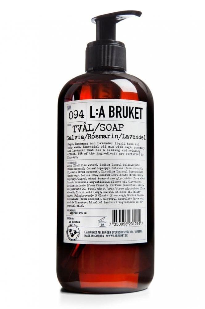 L:A BRUKET No. 094 Sage/Rosemary/Lavender Liquid Soap, 450ml