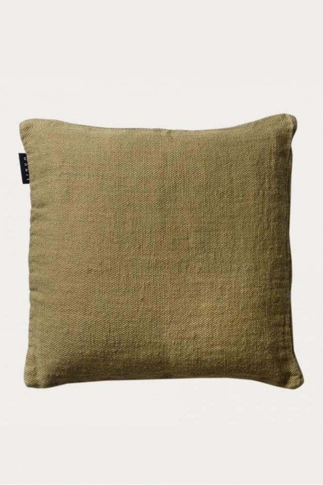 Linum Raw Cushion in Soft Grey Green