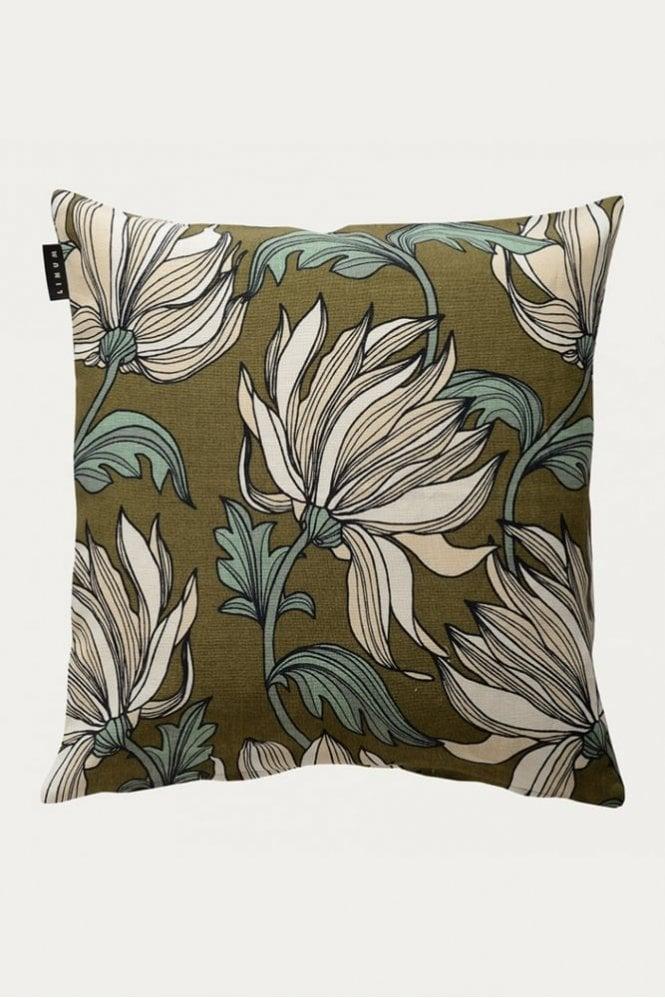 Linum Rosendal Cushion in Golden Olive Green