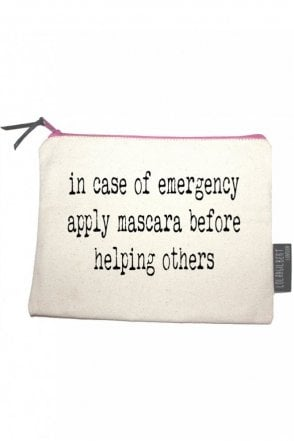 In Case Of Emergency Apply Mascara Before Helping Others Medium Pouch