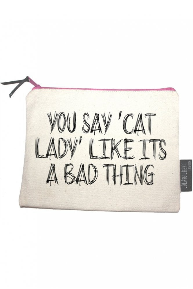 Lola and Gilbert London You Say Cat Lady Like Its a Bad Thing Medium Pouch