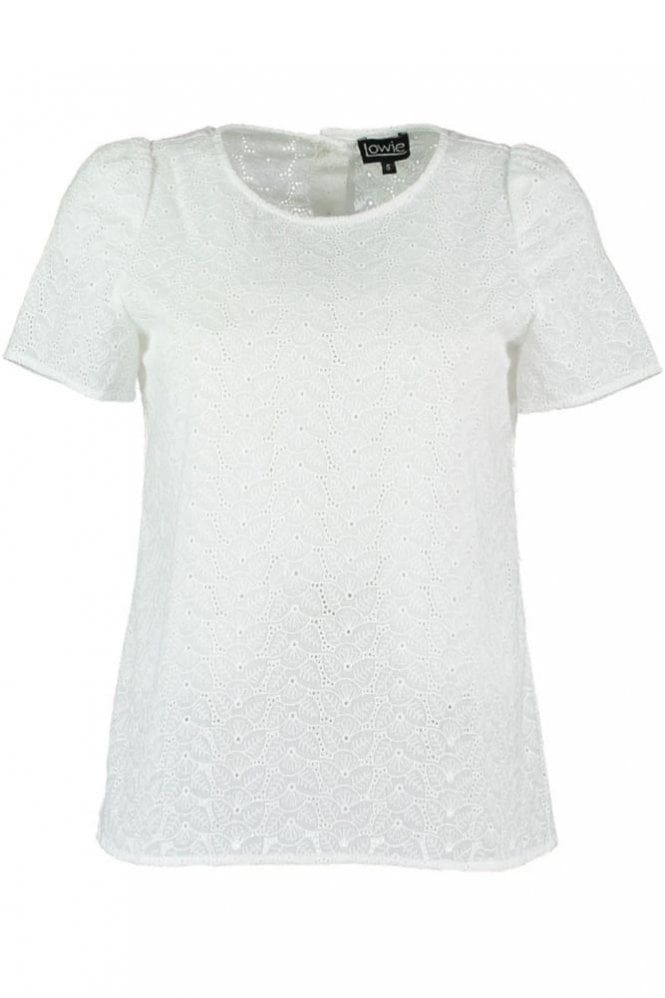 LOWIE Broderie Anglaise Button Back Top